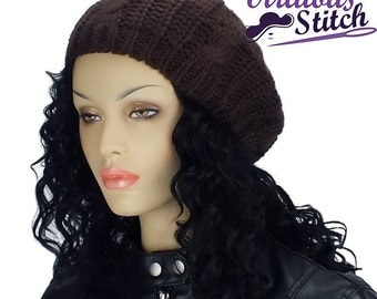 Brown Satin Lined Winter Hat With Solid Brown Satin Lining, Slouch Hat, Knit Cap, Gifts for Her
