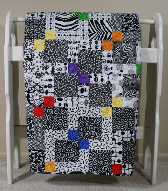 Broken Nine Patch Black Amp White Throw Quilt By