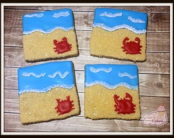 Ocean with Beach Decorated Sugar Cookies  -1 dozen