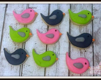 Mini Bird Decorated Sugar Cookies