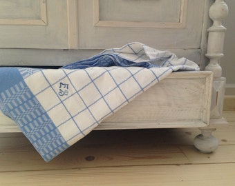 Swedish Antique Table Cloth White Blue Checkered Table Cloth Woven Plaid Table  Cloth Monogrammed Table Cloth