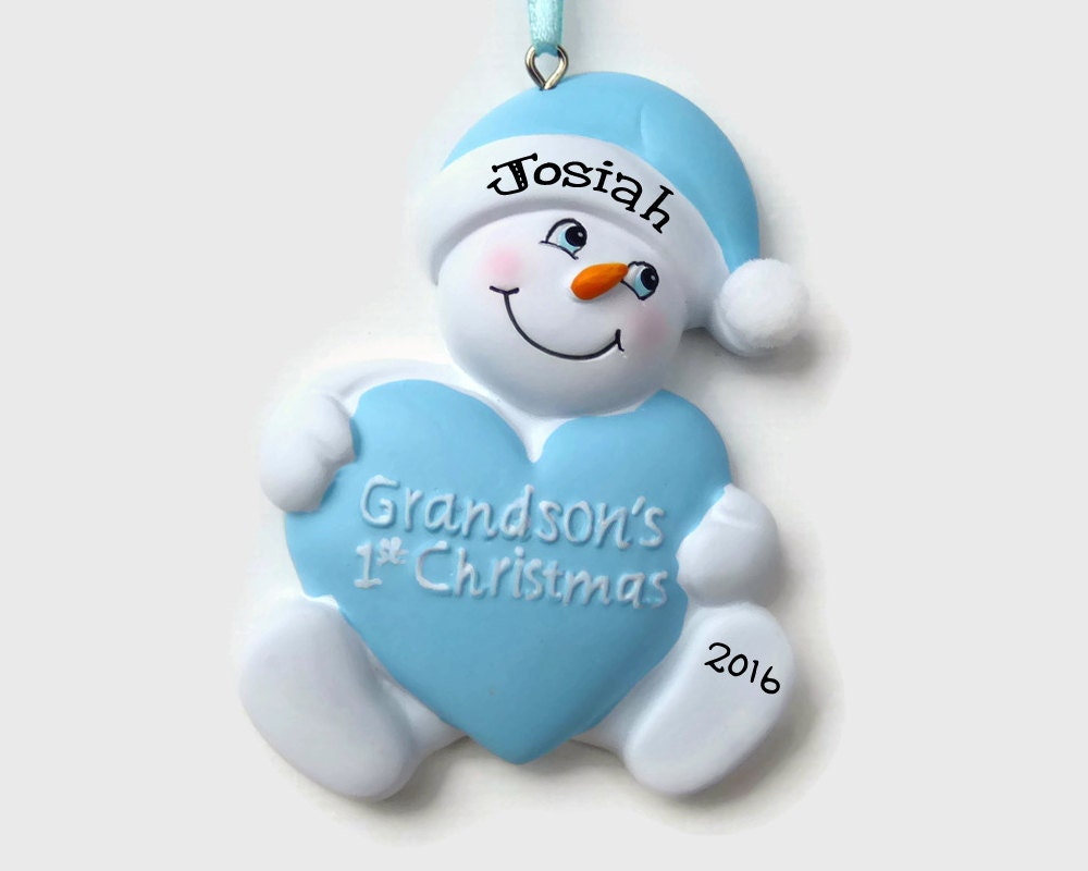 Snowbaby ornaments - Ships Free Grandson S First Christmas Personalized Ornament Boy Baby S First Christmas Hand