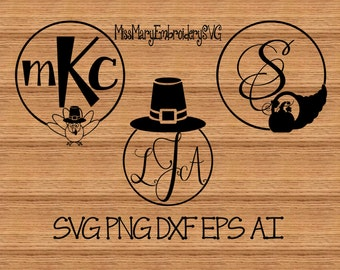 SVG Thanksgiving Monogram Frames Cutting File DXF, AI Commercial Personal Use