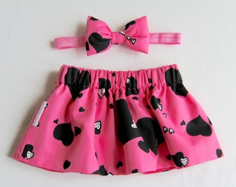 Heart Skirt, Hot Pink Skirt, Girls Skirt, Baby Skirt, Toddler Skirt, Newborn Skirt, Skirt Set, Baby Girl Skirt, Girls Clothing, Baby Clothes