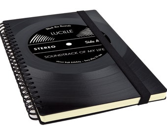 Custom Journal - Spiral Journal | Vinyl Spiral Notebook | Unique Journal | Music Gift
