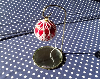 Vintage Red Satin Ornament with White Crochet Netting