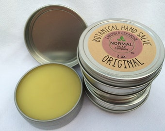 Botanical Hand Salve 2 & 4 oz tin featuring Organic Botanicals infused in Beneficial Oils