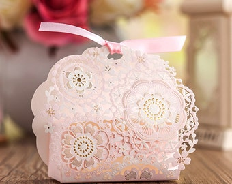 100 Pink Lace Floral Gift Boxes - Hollow-out Wedding Gifts, Party Favors, Candy Packaging