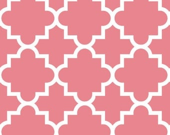 SALE! Pink Quatrefoil in Knit, Desert Sky BOLT Collection, Made in USA, Cotton Jersey Knit Fabric 5615