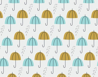 Umbrella Rain in Gold, Spring Walk Collection by Little Cube for Cloud 9 Organic Fabrics 1106