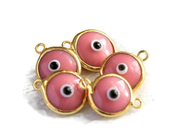 Evil Eye Charm, Glass, Pink Evil Eye Gold 2 Loops Connector, 5 Pieces  Luster, 24K Gold Plated Charm  - EE049
