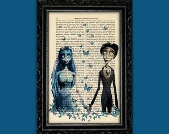 Corpse Bride and Victor Print Tim Burton Movie Art Poster Butterflies Book Art Dorm Room  Wall Decor Poster Art (Nº11)
