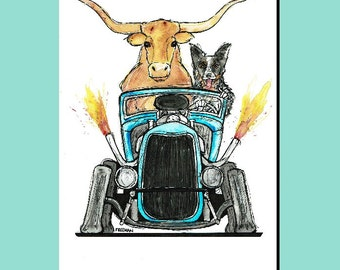 Cattle Drive!  Hot Rod with a Longhorn and Texas Heeler greetings card
