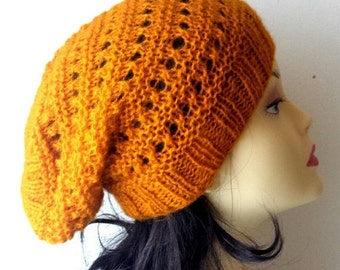 60% Off LIQUIDATION SALE Hand Knitted Hat, Slouchy beanie hat, slouchy yellow, mustard, ocher color hat, hand knit women men hat, chunky slo