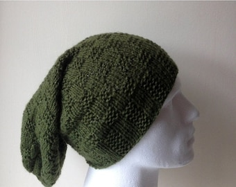 60% Off LIQUIDATION SALE Olive Green Hand Knitted Hat, Slouchy beanie hat, slouchy olive green hat, hand knit women men hat, chunky slouchy