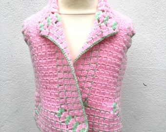 Hand crochet girl's vest in pink and green colors, hand crochet vest for baby girls
