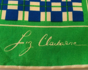 Vintage Liz Claiborne Women's Silk Scarf, Checks and Stripes, Royal Blue and Kelly Green, FREE SHIPPING