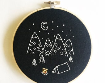 Happy Camper • Modern Hand Embroidery Hoop Art in a 5 inch hoop Camping in the Mountains Night Sky Hand Embroidered Hoop for Explorers
