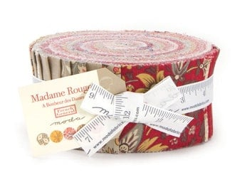 "Madame Rouge Jelly Roll, French General Jelly Roll, Moda Fabrics, (42) Precut 2.5""X WOF Fabric Strips, Precut Quilt Fabric, 13770JR"