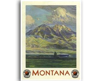 Montana Train Poster Home Travel Decor Retro Art Print (XR761)