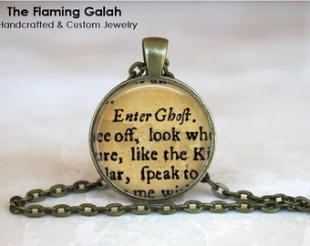 SHAKESPEARE Pendant •  Enter Ghost •  Shakepseare Play • Vintage Play •  Word Jewelry • Gift Under 20 • Made in Australia (P1046)