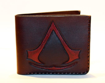 Leather wallet with assassin's creed symbol, brown wallet, great leather item, brown men's wallet, credit card wallet, gift for men.