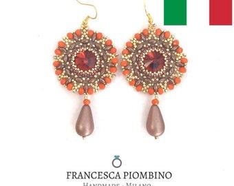 DIY ITA - Schema fotografico PDF orecchini Fabrizia - Orecchini con perline e rivoli 14mm. Beading pattern.
