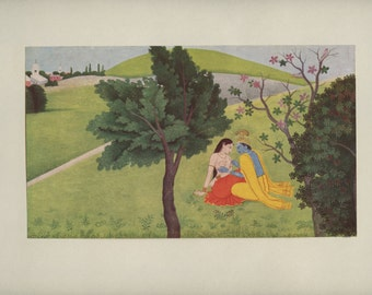 Krishna Painting Designs on Radha's Body - Indian Miniature Painting printed reproduction, 1978