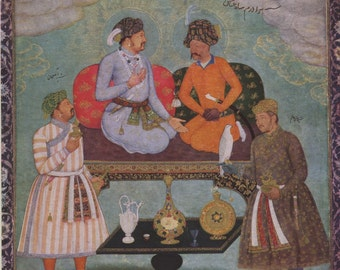 Mughal painting ... Indian Miniature Painting printed reproduction, 1979