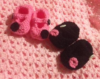 Crochet Baby Mary Jane Dot Slippers