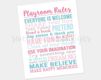 Playroom Rules Printable Wall Art, Subway Art Printable, Printable Playroom Art, Playroom Wall Art, Playroom Print, Digital Kids Wall Art