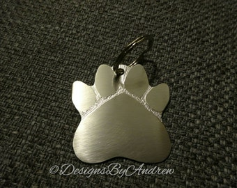 High Grade Stainless Steel Paw Print Keychain with Free Shipping