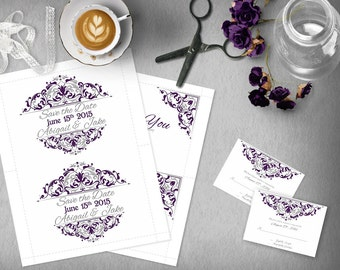 Silver Purple Wedding Invitation Template, Invitation Suite, Wedding Invitation set, Thank You Card, RSVP, Elegant, Save the Date, Plum Wed