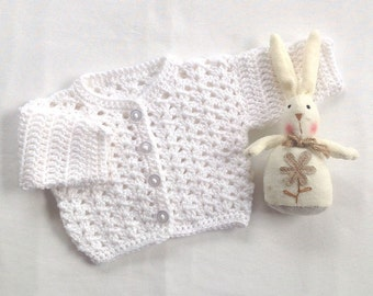 Newborn baby cardigan - White baby sweater - Crochet baby cardigan - Newborn sweater - Baby shower gift