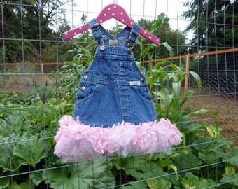 Size 6 Month Pink Bowed Tutu, recycled denim tutu, infant tutu, pink tutu,upcycled overall tutu, ready to ship tutu, smoke free home