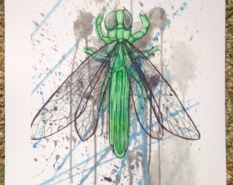"8.5x11 PRINT of ""Tourmaline Dragonfly"" painting"