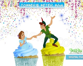 Printable, Disney, Peter Pan Cupcake Topper, Neverland Cake Pop Toppers, Wendy, Peter Pan Centerpiece, digital file,Favor Tags, You Print