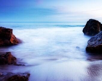 Beach sunset fine art photography - Blue teal sunset, rocks in the ocean. California coast photo print. Coastal sunset in Laguna Beach