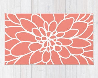 Modern Dahlia Flower Area Rug - Coral and White Flower Rug - Modern Flower Rug - Abstract Flower Area Rug - Home Decor - Nursery Rug