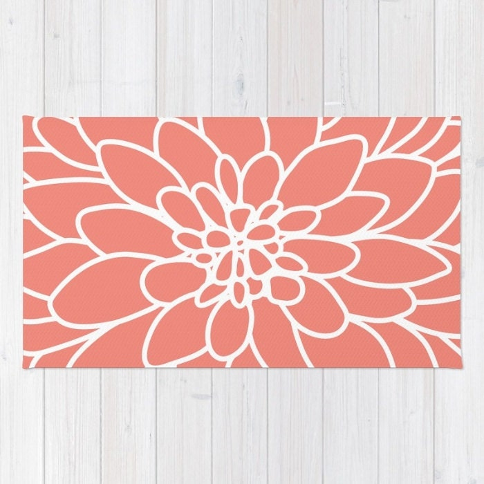 Modern Dahlia Flower Area Rug Coral And White Flower Rug