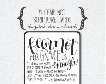 Scripture Cards, 31 Days of Fear Not : Freedom From Fear Scripture Cards