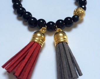 Bracelet made of Semi precious Black Onyx with Suede Tassel Charm, Unique Jewellery