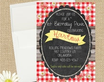 Picnic Birthday Party Invitation,  Red and White Gingham/Daisy Picnic, Picnic Birthday Invitation,  5x7 Printable Teddy Bear Picnic