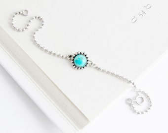 Delicate 925 sterling silver ball chain turquoise bracelet, silver beaded chain bracelet, link silver turquoise bracelet