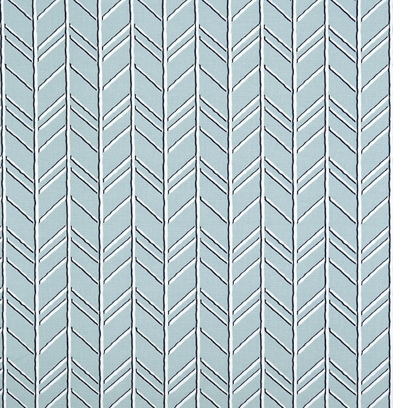 Rustic Loft Blue & Grey Herringbone Fabric by the by ...