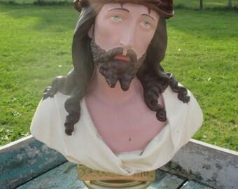 Jesus Christ Ecce Homo Plaster Statuette Bust Chalk Crown Thorns