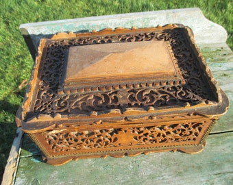 Vintage Carved Wood Ornate Treasure Chest Trinket Jewelry Box Gorgeous