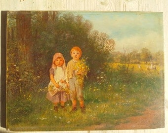 Children with flowers:  oil on panel by Victorian artist J. O. Banks