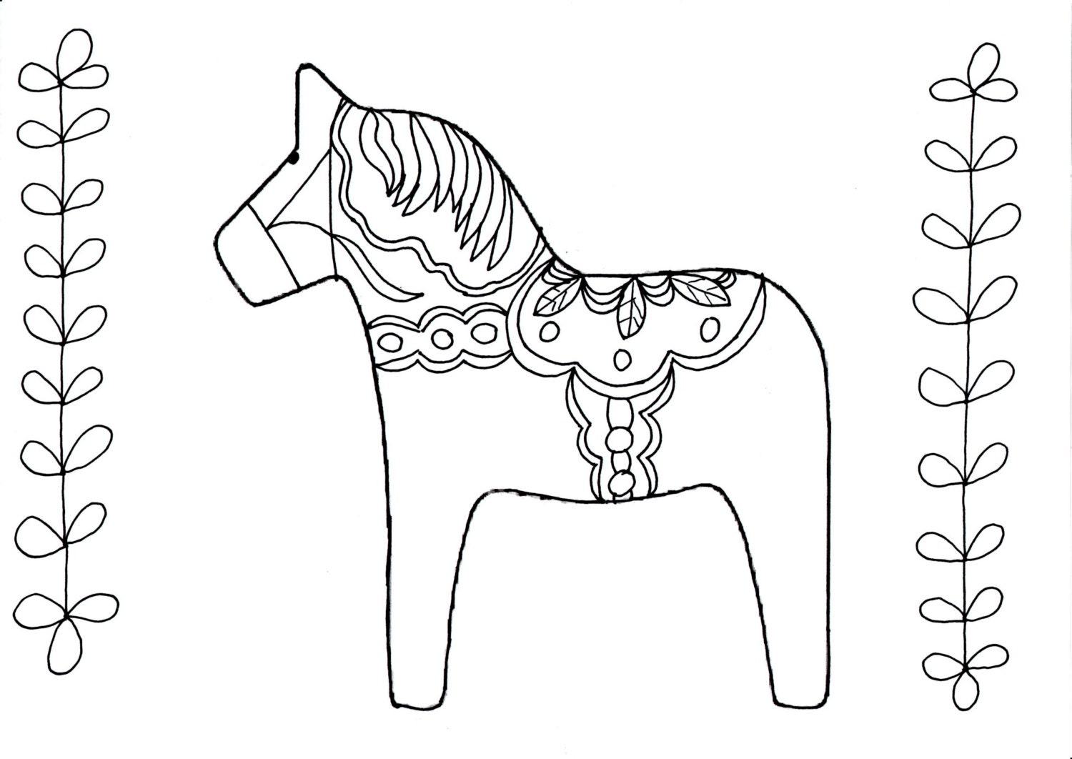 Swedish Dala Horse Coloring Page Coloring Pages Dala Coloring Page