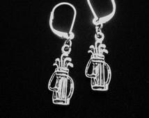 Golf Club Earrings, Golf Club Charm Earrings, Silver Earrings
